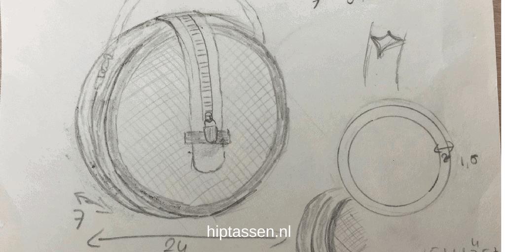 Ontwerp tekening van ronde koffer