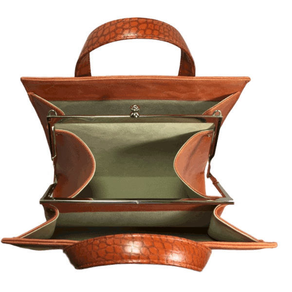 beugeltas oranje bovenkant open hip tassen