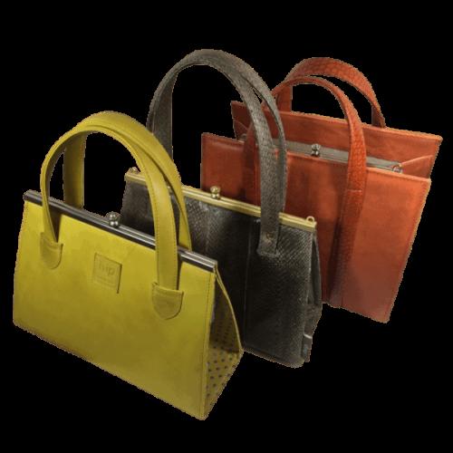 beugeltas geel oranje en zalmleer hip tassen
