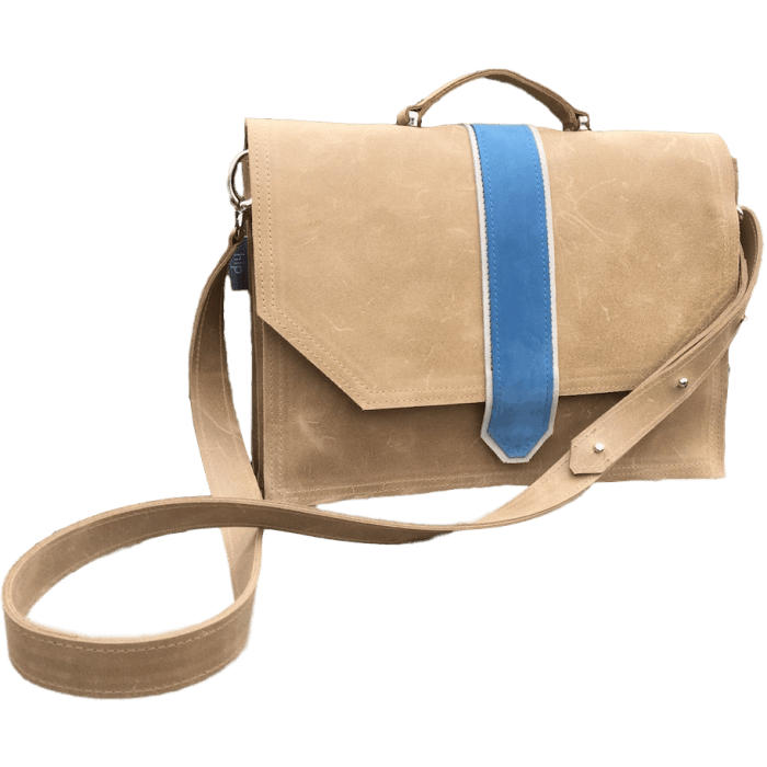 werktas-laptoptas-camel-blauw-voorkant