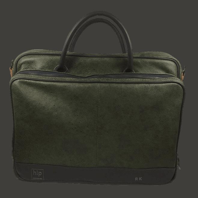 werktas-laptoptas-heren-groen-antraciet-voorkant