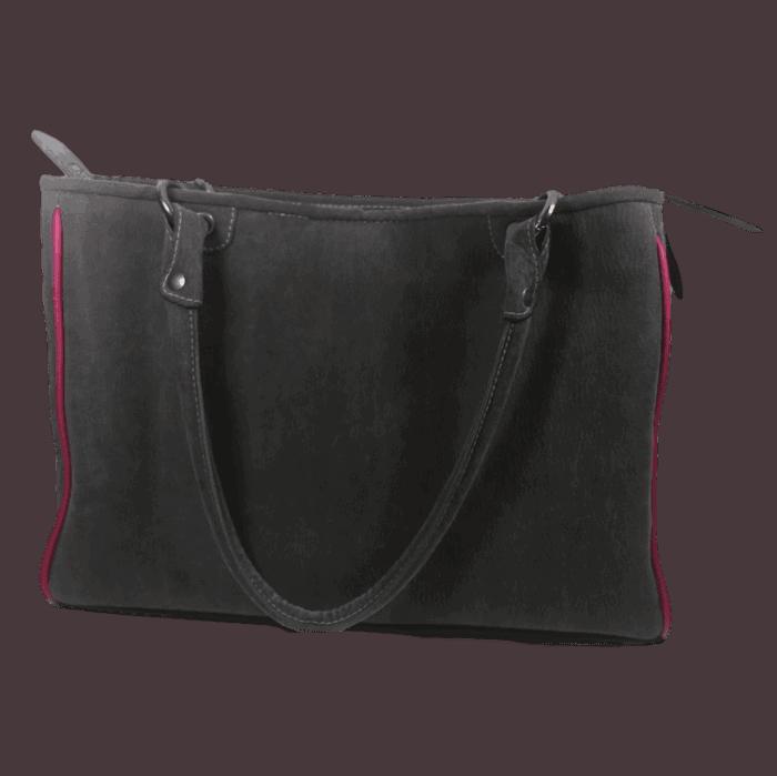 werktas-dames-visleer-grijs-roze-achterkant-zalmleer
