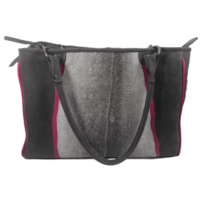 werktas-dames-visleer-grijs-roze-voorkant-zalmleer