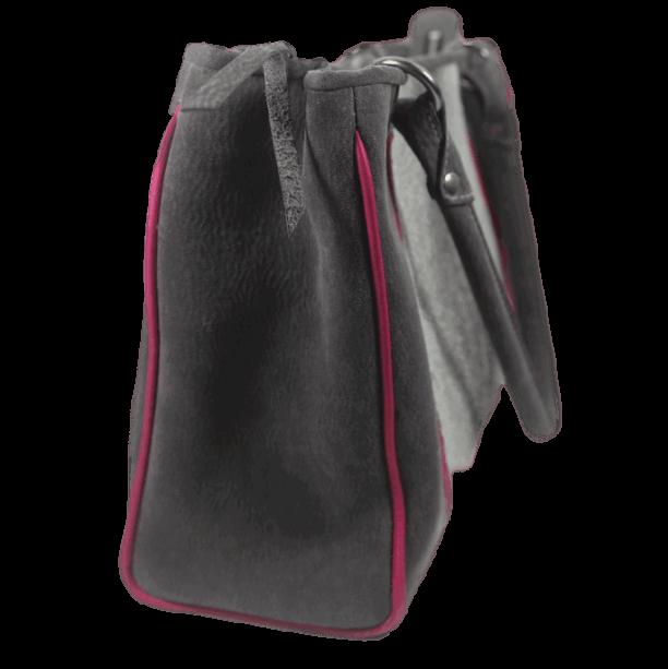 werktas visleer grijs roze zijkant