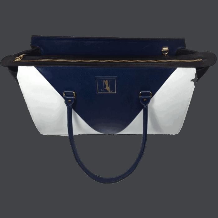 Dames-handtas-blauw-wit-zwart-bovenkant-model-maldive