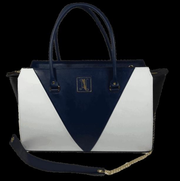 Dames-handtas-blauw-wit-zwart-voorkant-model-maldive