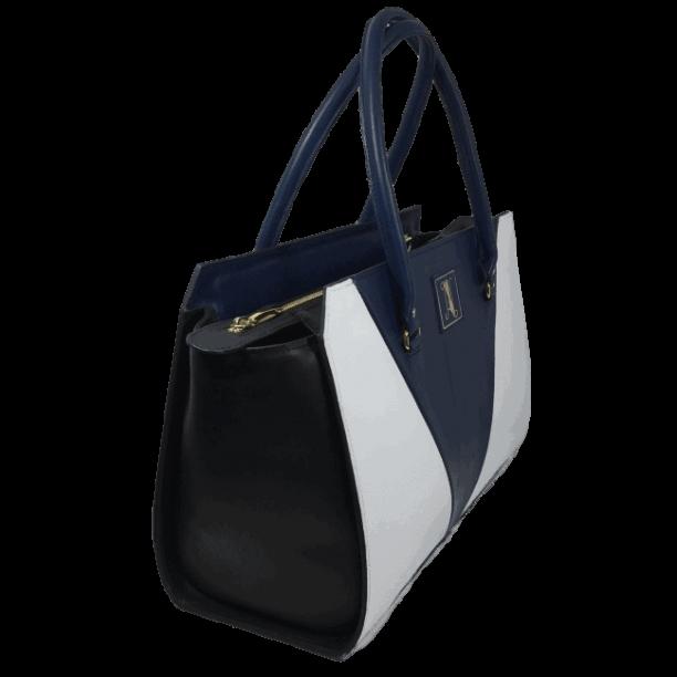 Dames-handtas-blauw-wit-zwart-zijkant-model-maldive