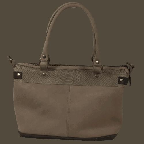 bruine dames handtas met slangenprint achterkant