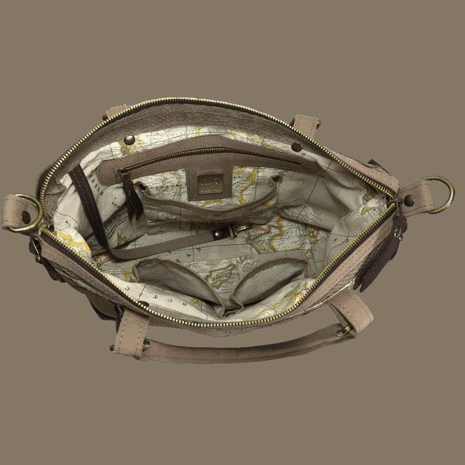 bruine dames handtas met slangenprint binnenkant
