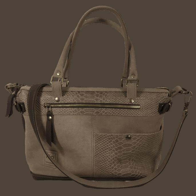 bruine dames handtas met slangenprint voorkant