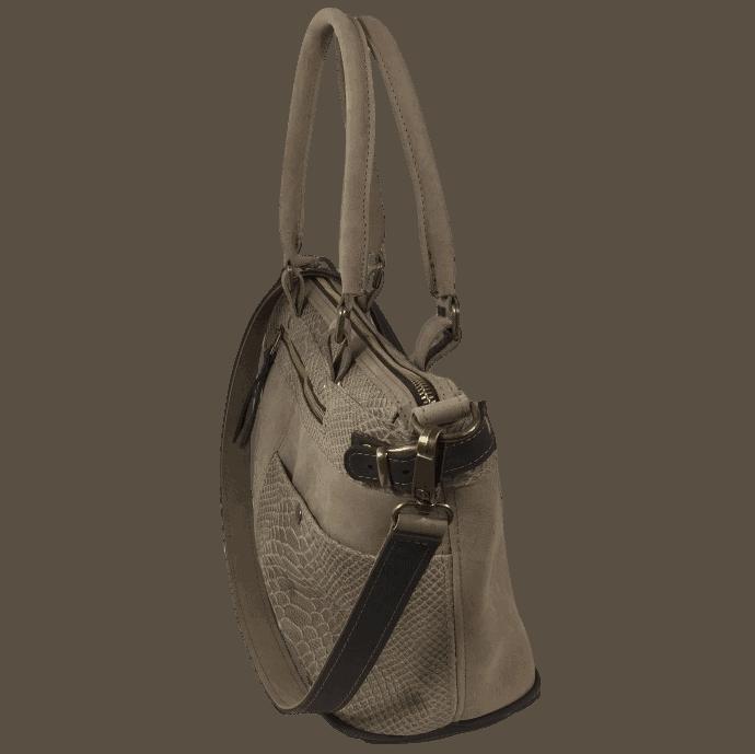 bruine dames handtas met slangenprint zijkant