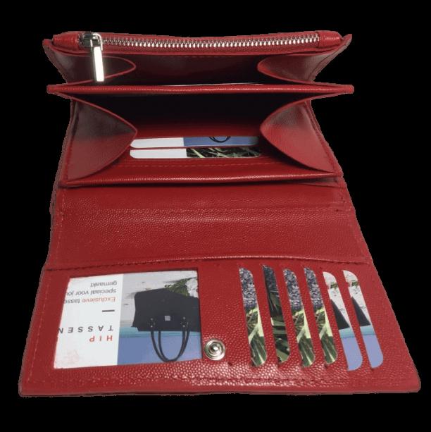 dames portemonnee rood binnenkant