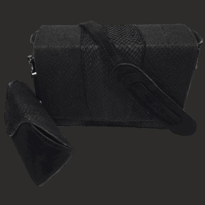 zalmleer zwart handtas