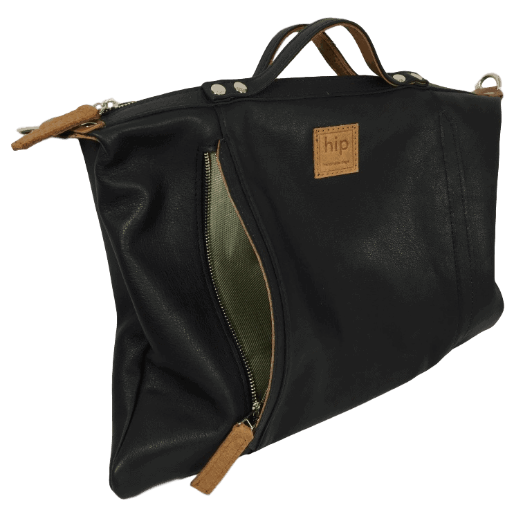 zwarte handtas voorkant open