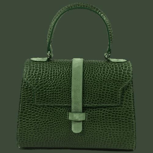 groene lizardprint handtas voorkant