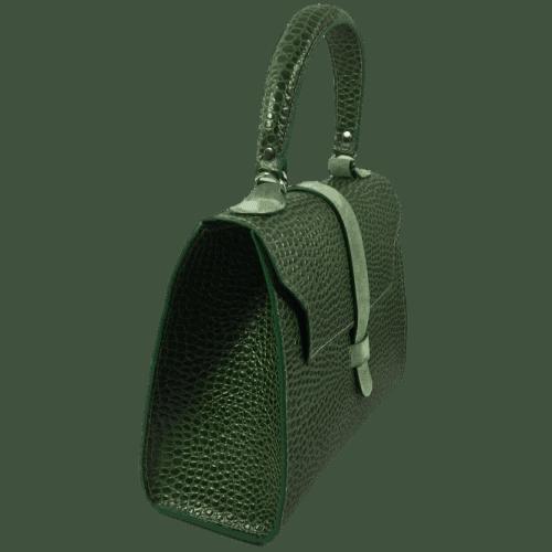 groene lizardprint handtas zijkant