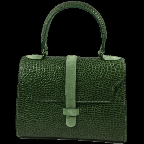 groene-handtas-lizardprint-voorkant-groene-strip