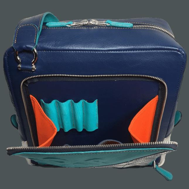 kleine werktas messenger bag voorvak open