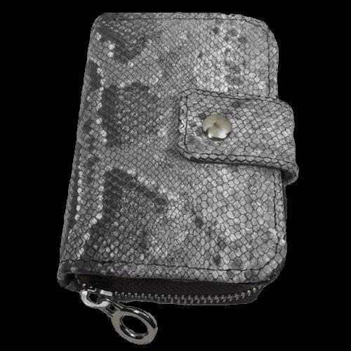 kleine-lederen-dames-portemonnee-grijs-slangenleerprint-voorkant-hiptassen-opmaatgemaakt