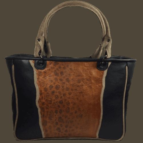 zeewolf-leren-handtas-cognac-zwart-voorkant