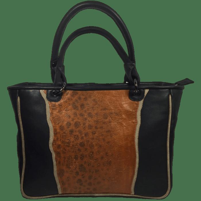 zeewolf-leren-handtas-cognac-zwart-voorkant-zwarte-hengsles-hiptassen-opmaatgemaakt