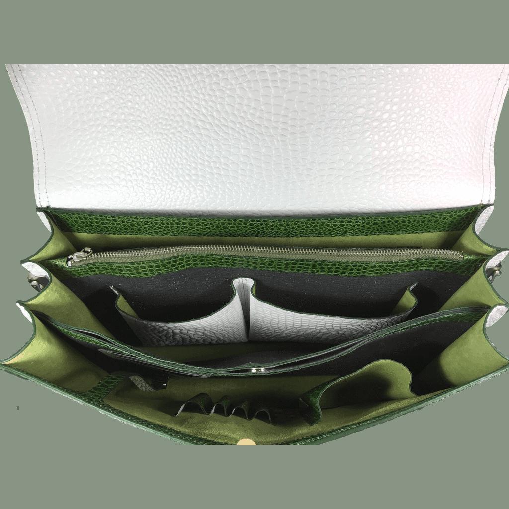 dames-werktas-laptoptas-groen-crocoleer-binnenkant-handgemaakt-hiptassen