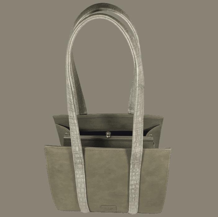 knipbeugeltas-handtas-grijsgroen-voorkant-boven-hiptassen-opmaatgemaakt