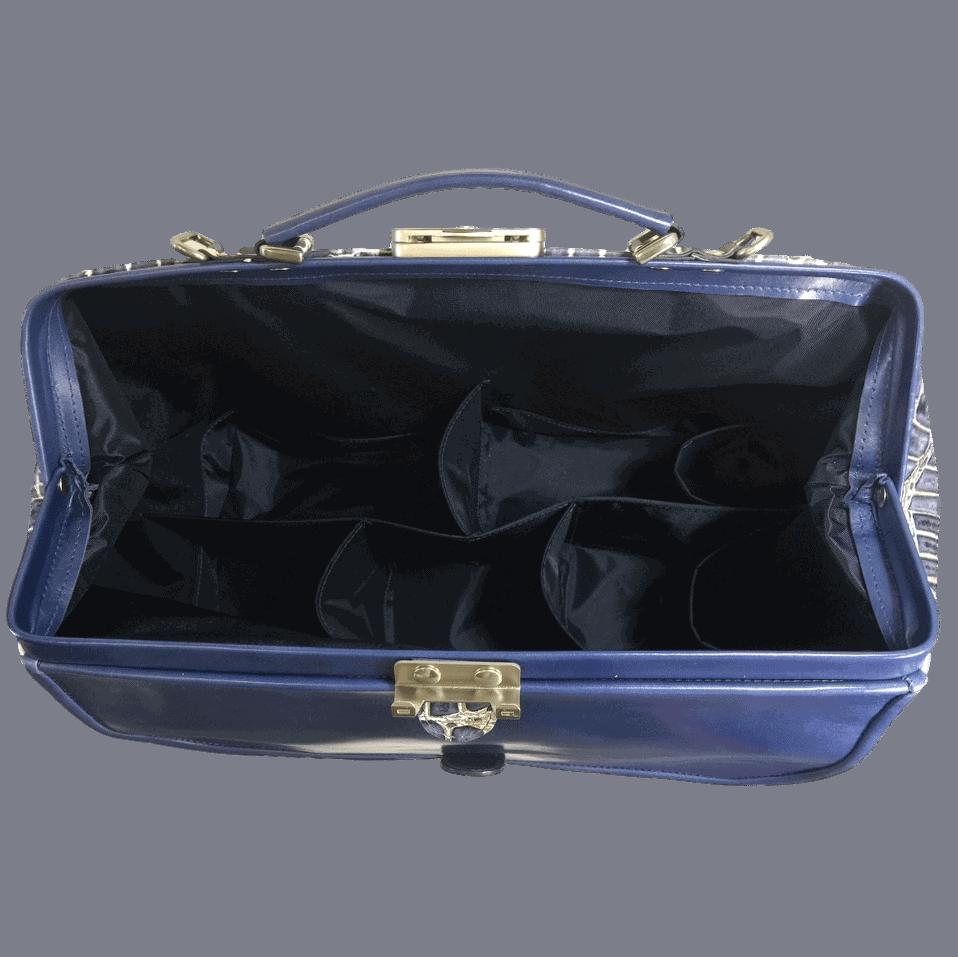 dokterstas-artsentas-verpleegkundigetas-blauw-crocoprint-binnenkant-hiptassen-handgemaakt