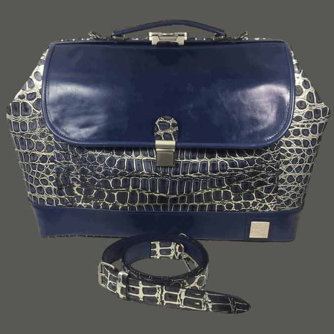dokterstas-artsentas-verpleegkundigetas-blauw-crocoprint-voorkant-hiptassen-handgemaakt