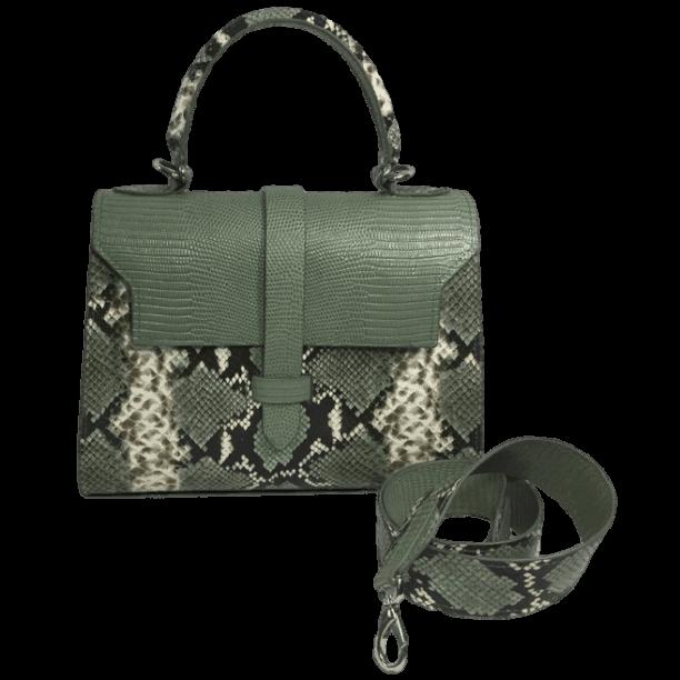 handtas-groene-slangenprint-lizardprint-voorkant-schouderband-hiptassen-handgemaakt