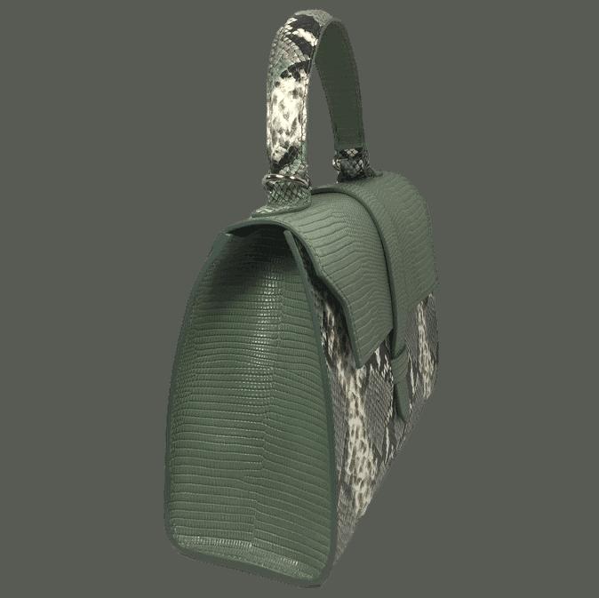 handtas-groene-slangenprint-lizardprint-zijkant-hiptassen-handgemaakt