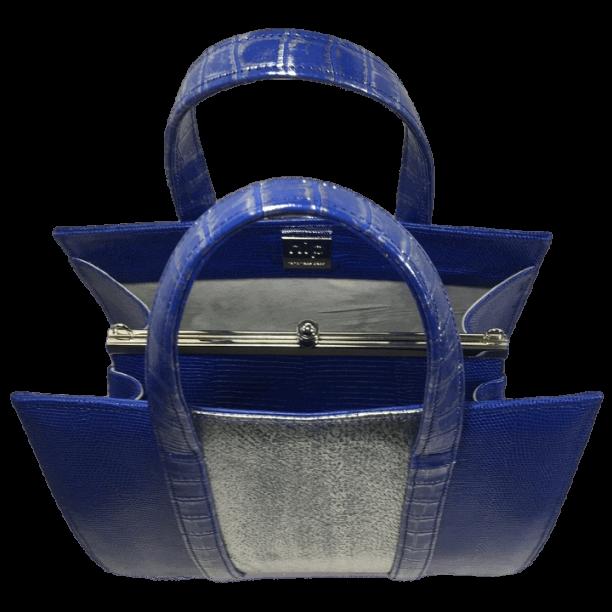 dubbele-beugeltas-blauw-zilver-zalmleer-lizardprint-bovenkant-hiptassen-opmaat-gemaakt