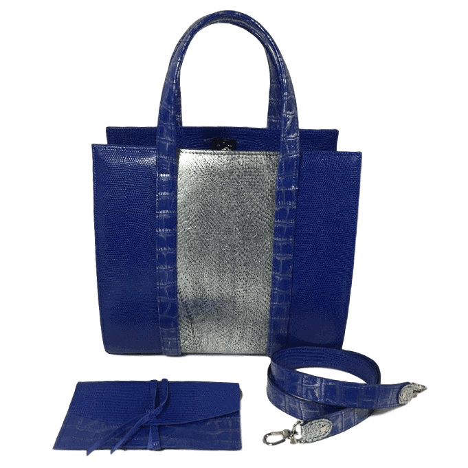 dubbele-beugeltas-blauw-zilver-zalmleer-lizardprint-voorkant-accessoires-hiptassen-opmaat-gemaakt