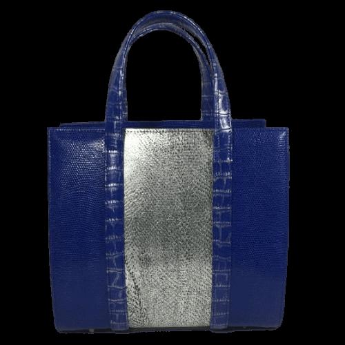 dubbele-beugeltas-blauw-zilver-zalmleer-lizardprint-voorkant-hiptassen-opmaat-gemaakt