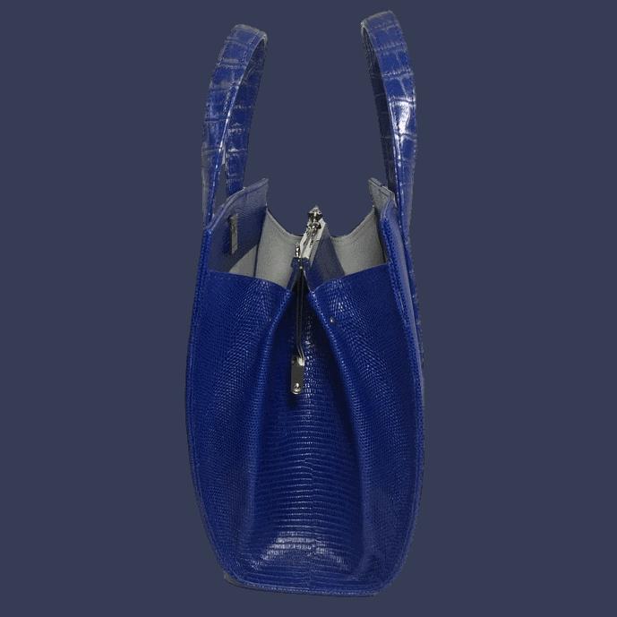dubbele-beugeltas-blauw-zilver-zalmleer-lizardprint-zijkant-hiptassen-opmaat-gemaakt