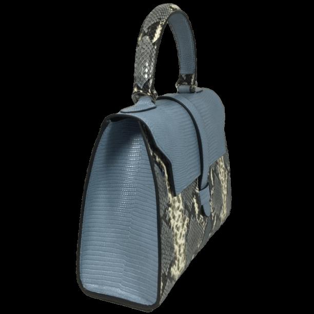 kleine-elegante-handtas-blauw-slangenprint-leer-zijkant-osaka-hiptassen-opmaat-gemaakt