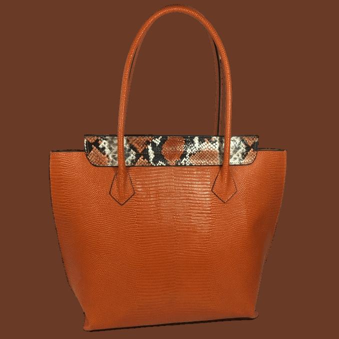 shopper-oranje-slangenprint-leer-achterkant-hiptassen-opmaat-gemaakt