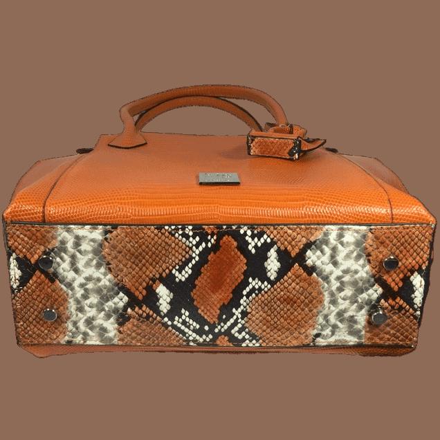 shopper-oranje-slangenprint-leer-onderkant-hiptassen-opmaat-gemaakt