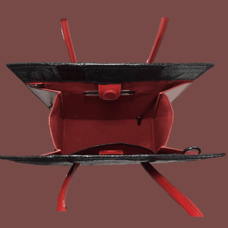zwart-zalmleer-handtas-rood-binnenkant-hiptassen-opmaatgemaakt