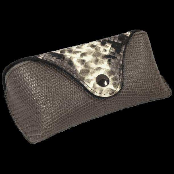 brillenkoker-lizardprint-taupe-voorkant-handgemaakt-opmaat-hiptassen