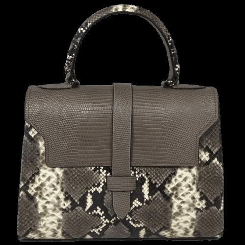 kleine handtas slangenprint taupe voorkant handgemaakt opmaat hiptassen