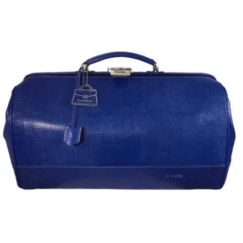 huisartsentas groot blauw croco voorkant hiptassen opmaat gemaakt